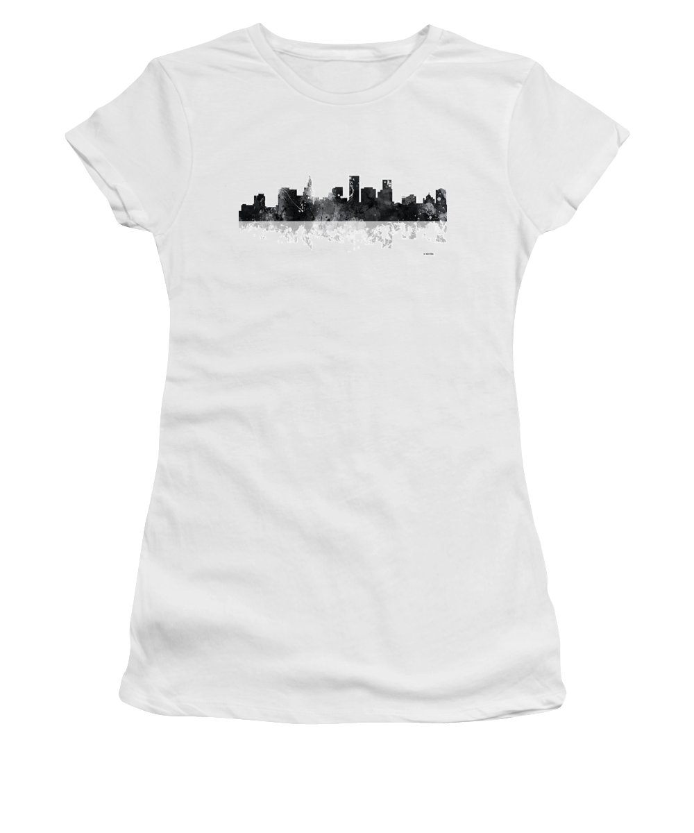 St Paul Minnesota Skyline Women's T-Shirt featuring the digital art St Paul Minnesota Skyline by Marlene Watson