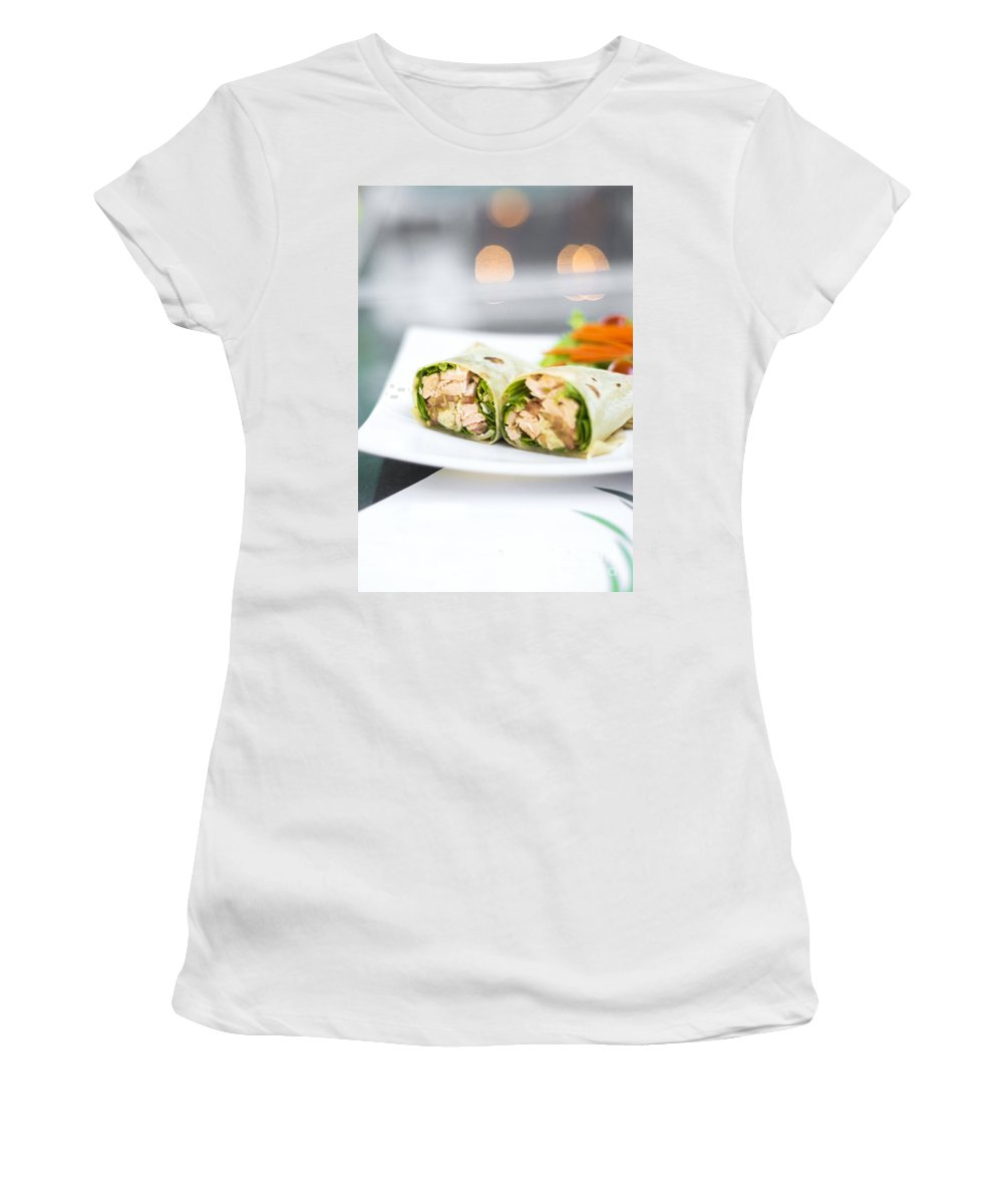 Conscious Women's T-Shirt (Athletic Fit) featuring the photograph Steamed Salmon And Salad Wrap by Jacek Malipan