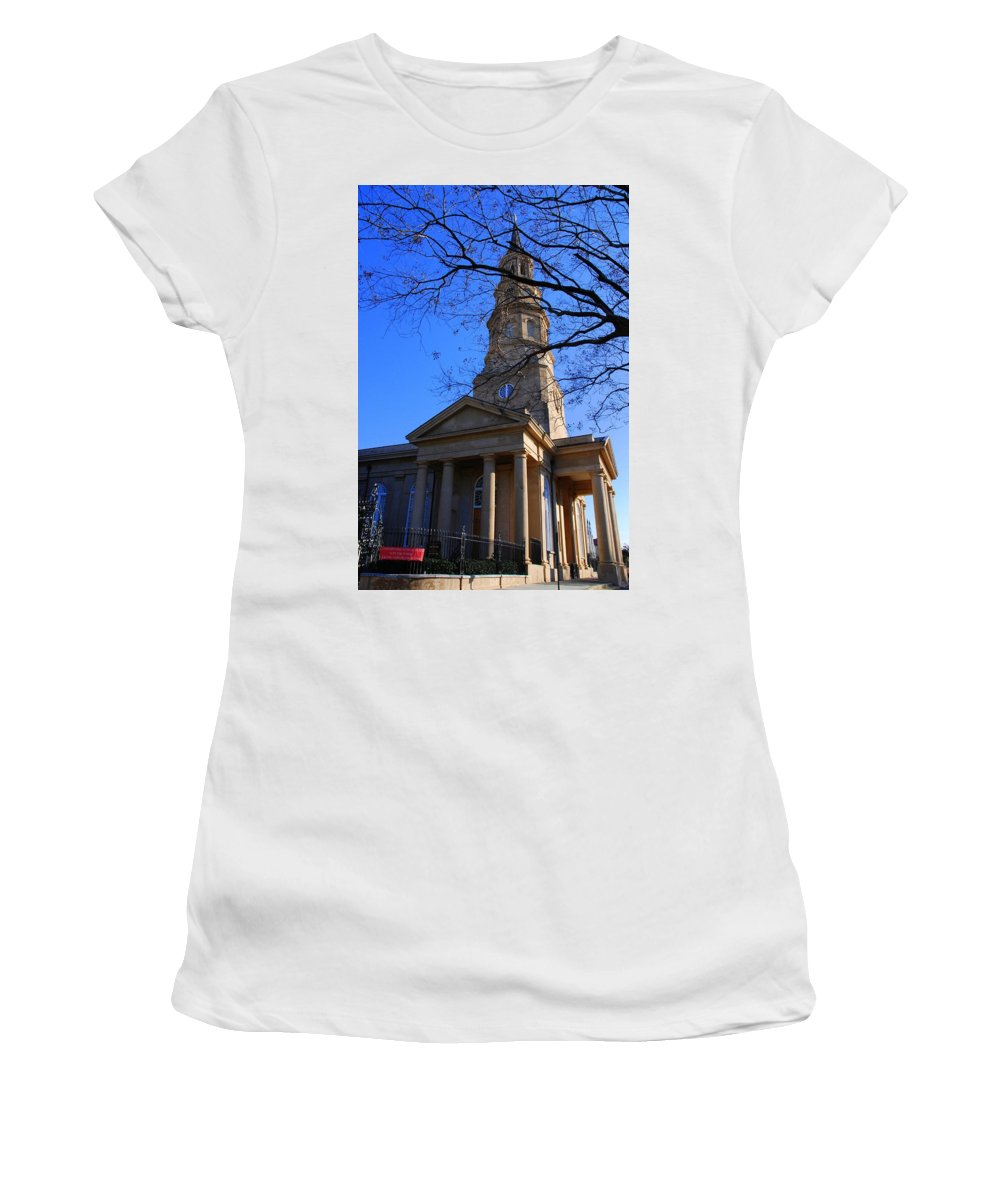 Photography Women's T-Shirt (Athletic Fit) featuring the photograph St.philips Episcopal Church In Charleston Sc by Susanne Van Hulst