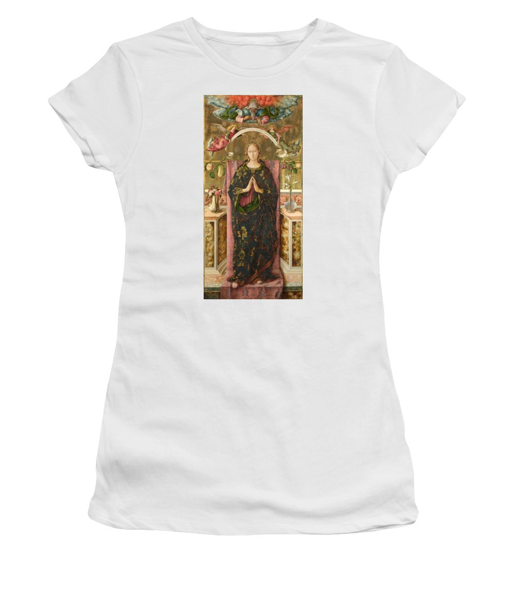 Carlo Women's T-Shirt (Athletic Fit) featuring the digital art The Immaculate Conception by PixBreak Art