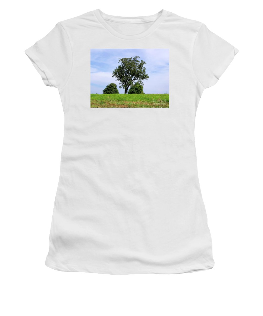 Tree Women's T-Shirt (Athletic Fit) featuring the photograph Three Tree Hill by Madeline Ellis