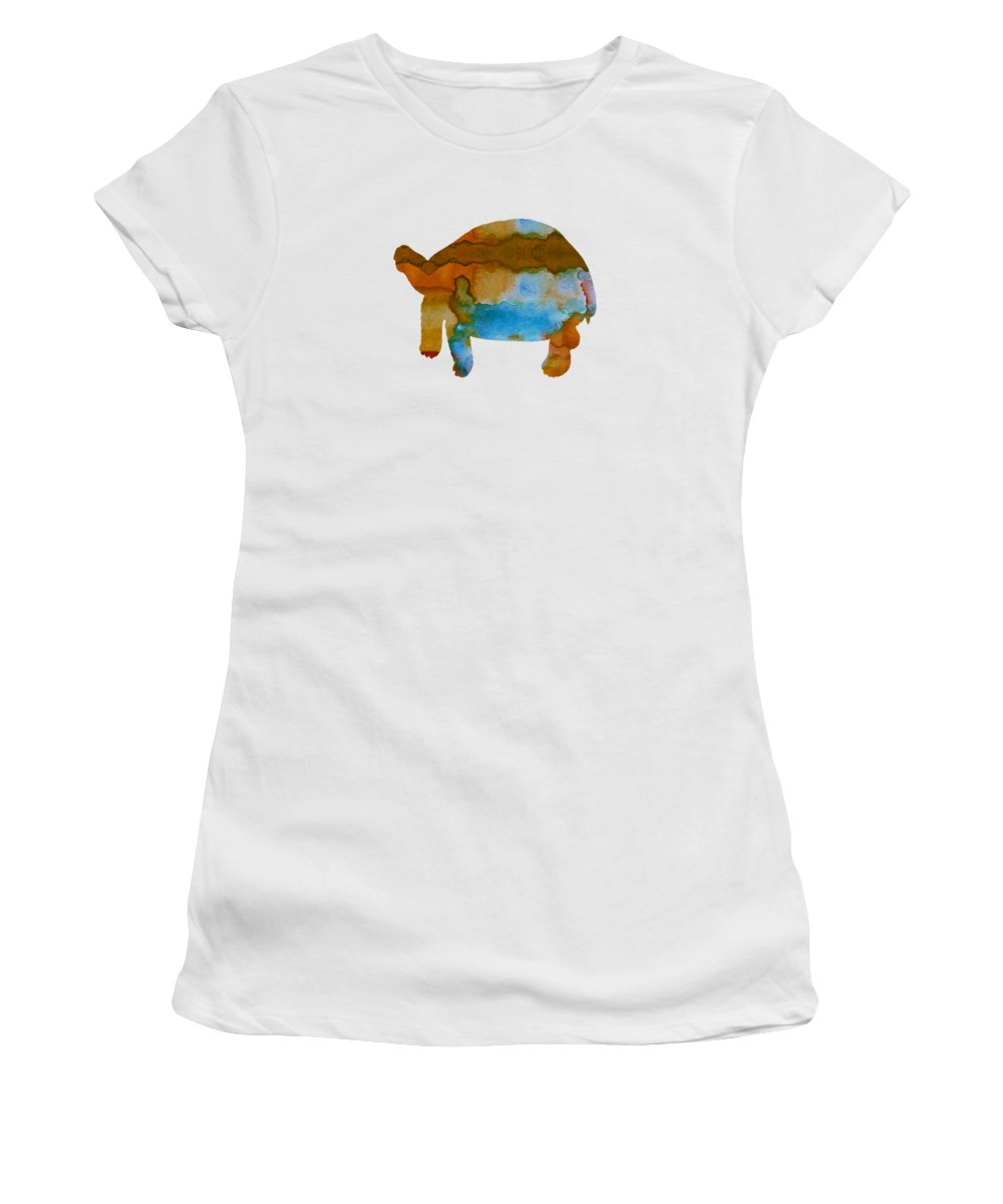 Tortoise Women's T-Shirt (Athletic Fit) featuring the painting Tortoise by Steph J Marten