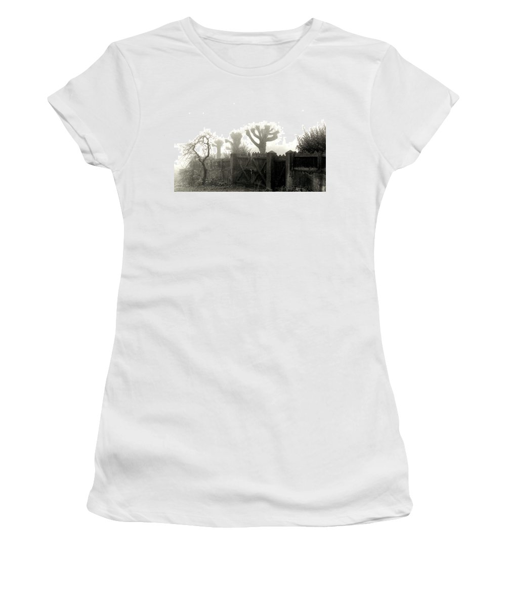 Trees Women's T-Shirt (Athletic Fit) featuring the photograph Trees In The Fog by Nancy Mueller