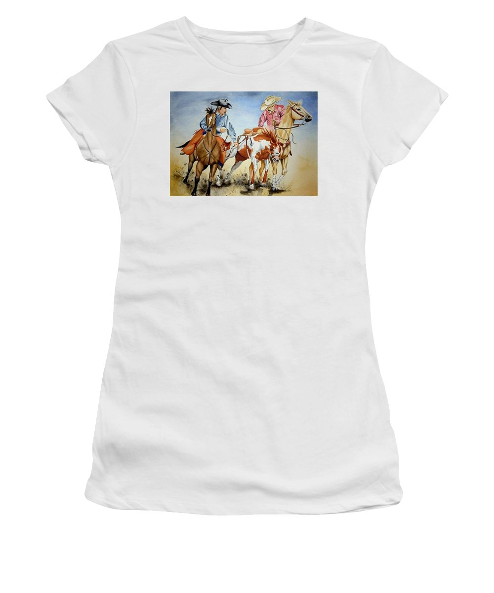 Art Women's T-Shirt (Athletic Fit) featuring the painting Victory Dance by Jimmy Smith