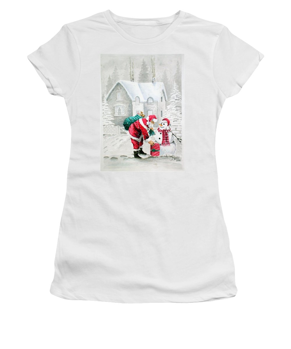 Christmas Women's T-Shirt (Athletic Fit) featuring the painting White Christmas by Jimmy Smith