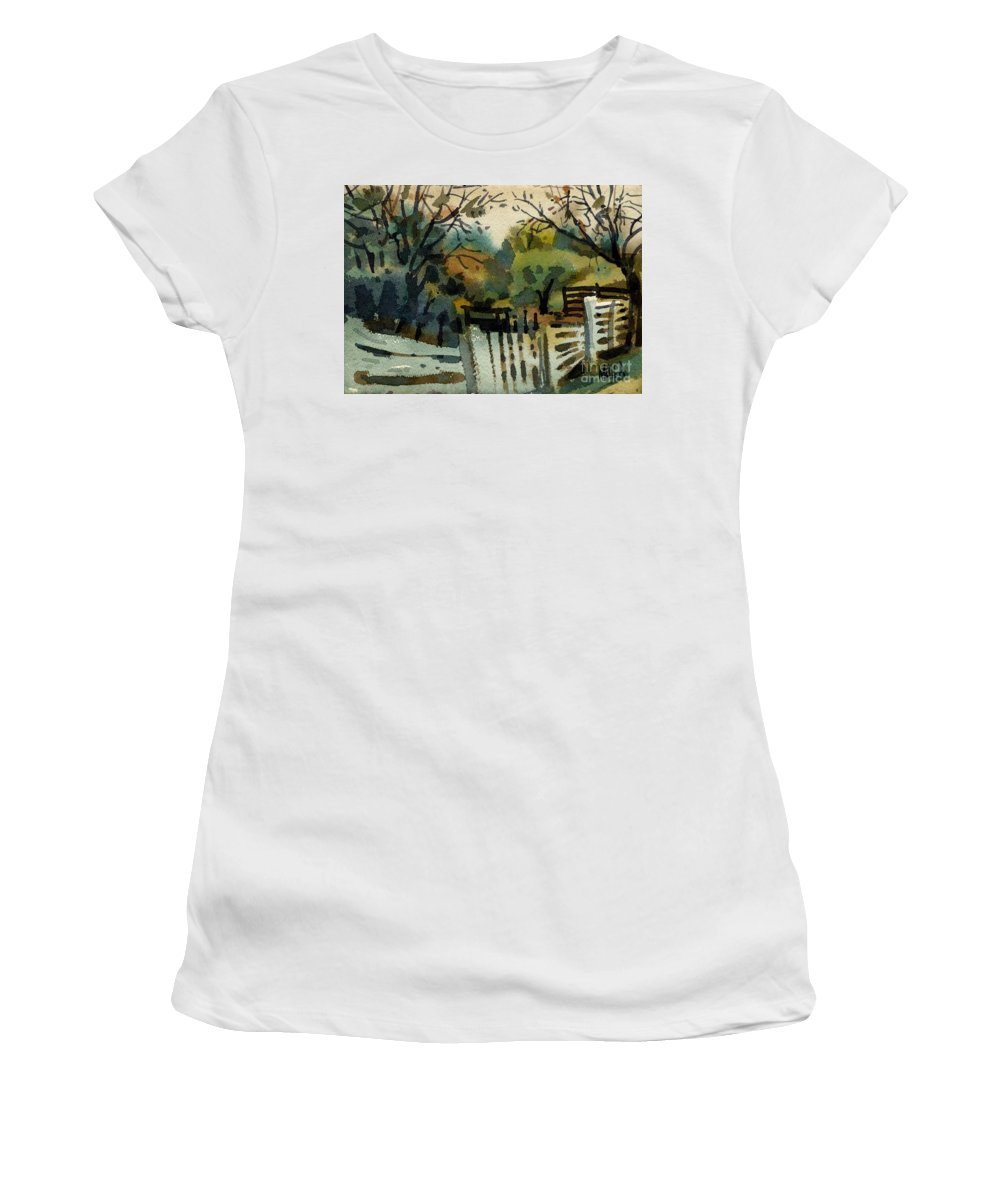 White Fence Women's T-Shirt (Athletic Fit) featuring the painting White Fence by Donald Maier