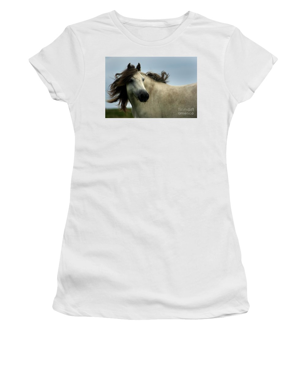 Horse Women's T-Shirt (Athletic Fit) featuring the photograph Wind In The Mane by Angel Ciesniarska