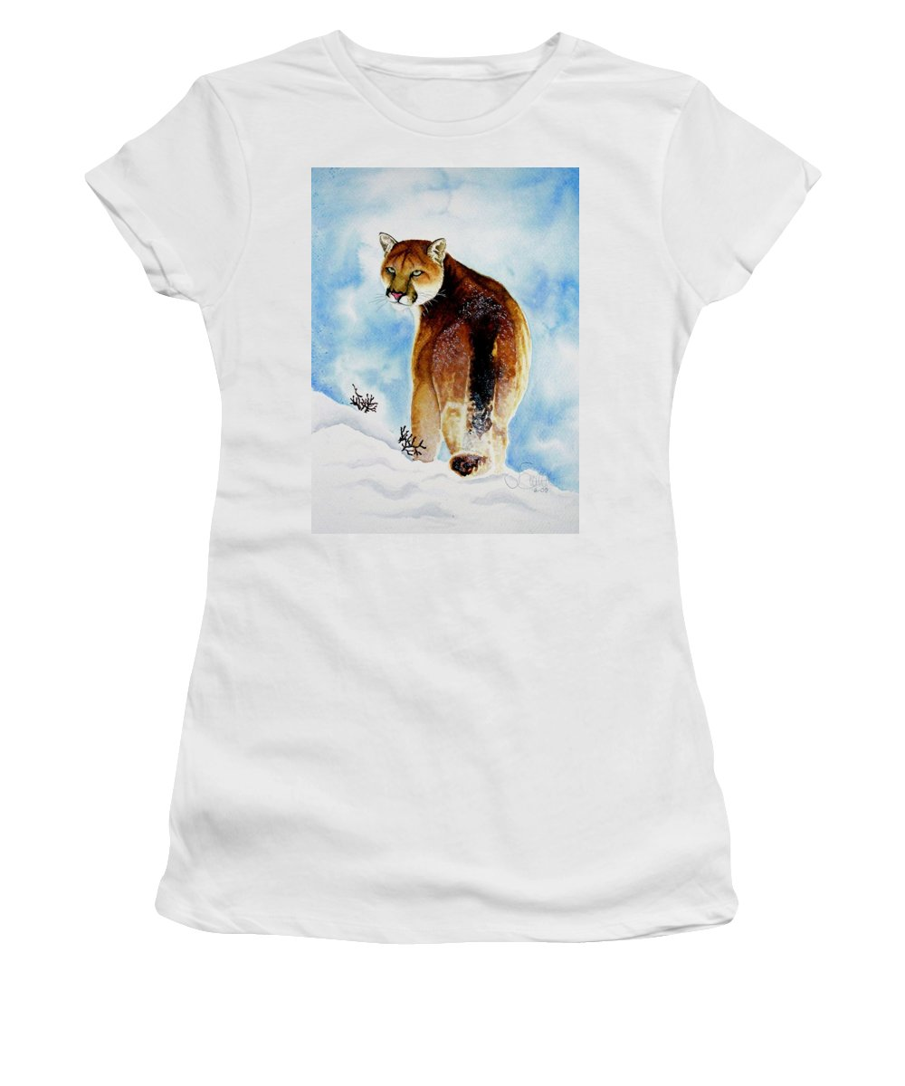 Cougar Women's T-Shirt (Athletic Fit) featuring the painting Winter Cougar by Jimmy Smith