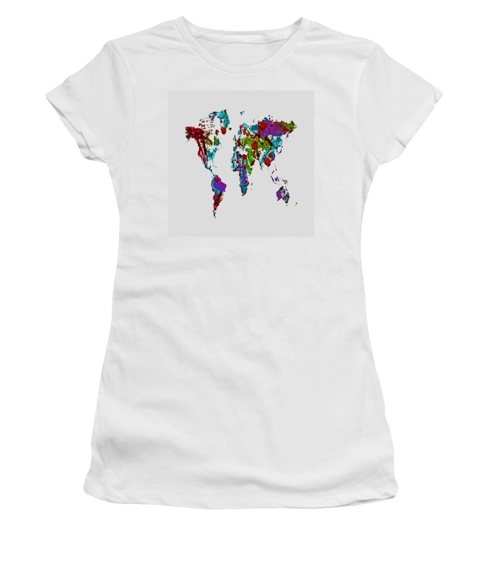World Map Women's T-Shirt featuring the painting World Map 1b by Brian Reaves