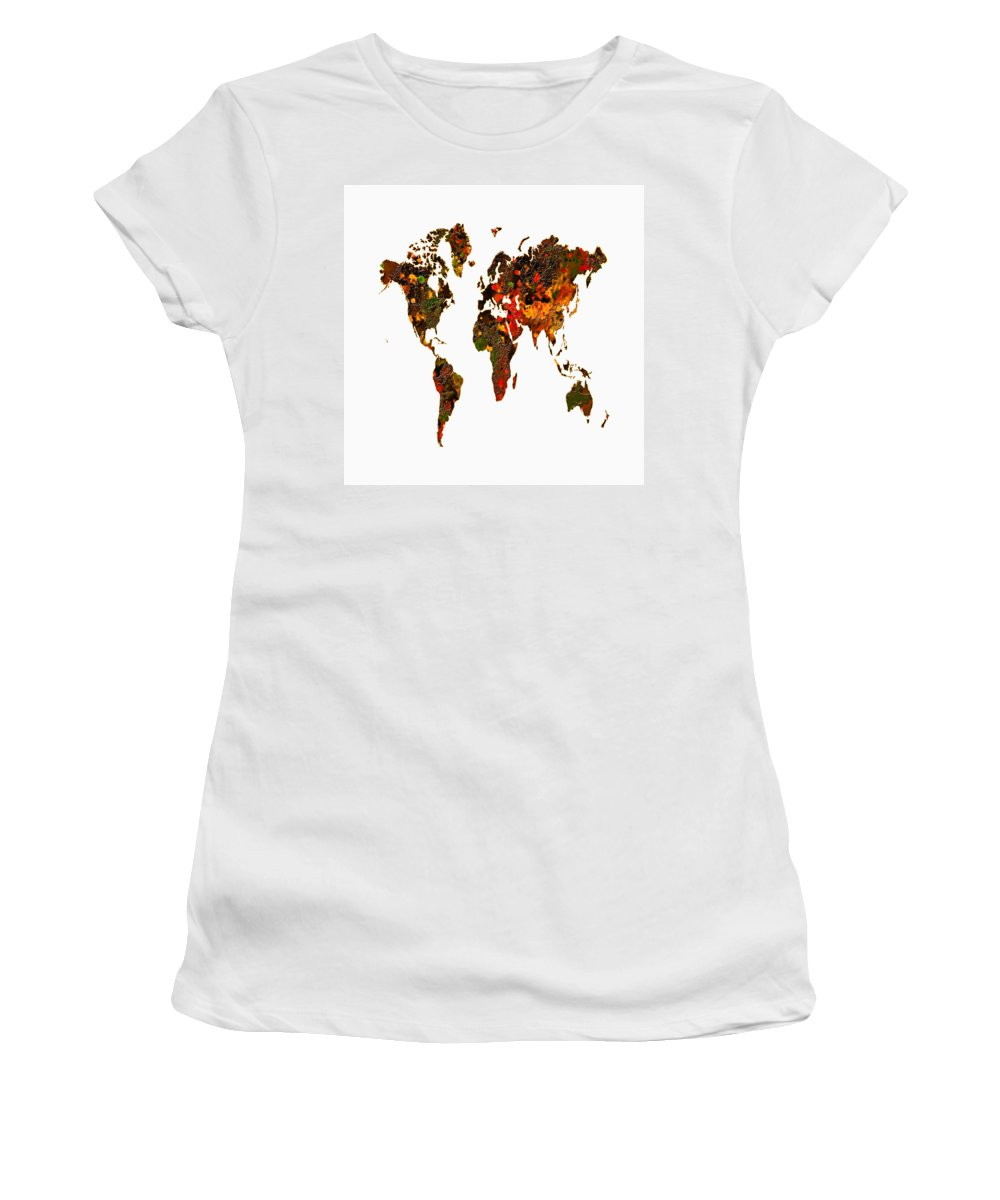 World Map Women's T-Shirt featuring the painting World Map 2b by Brian Reaves