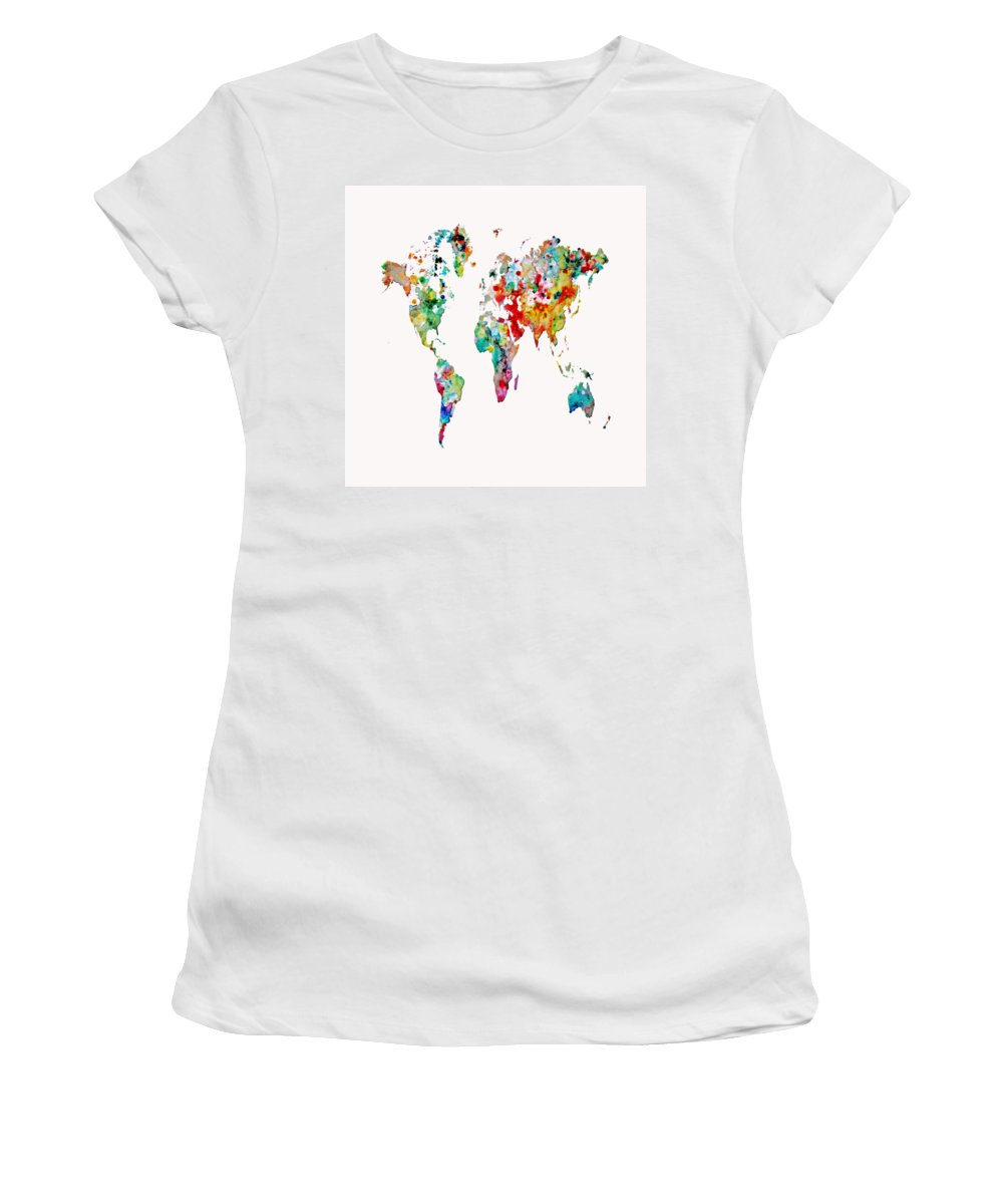 World Map Women's T-Shirt featuring the painting World Map 3b by Brian Reaves