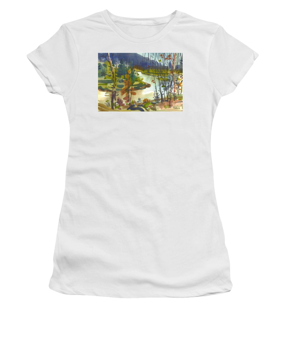 Yellowstone Women's T-Shirt (Athletic Fit) featuring the painting Yellowstone River by Donald Maier