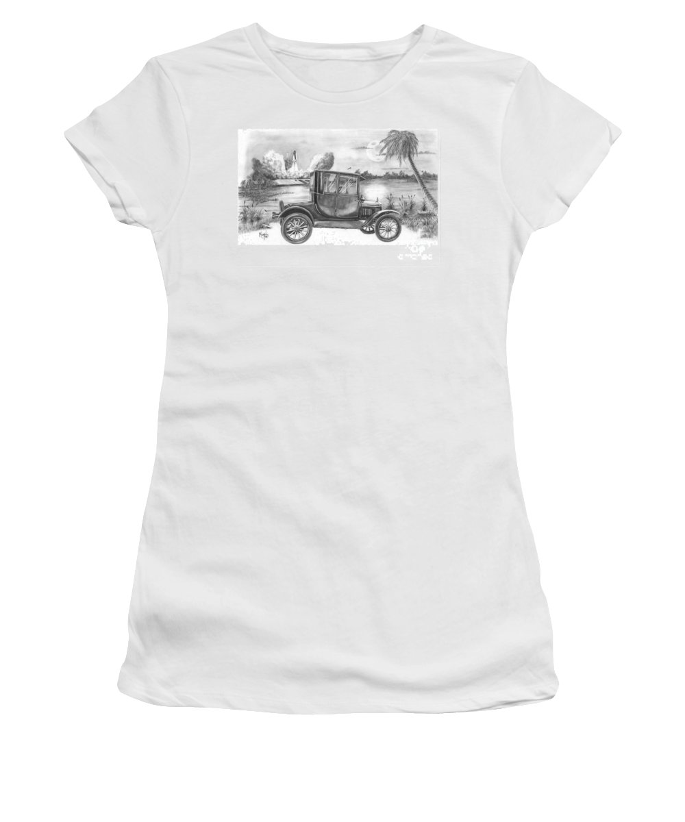 Pencil Women's T-Shirt (Athletic Fit) featuring the drawing Yesterday And Today by Murphy Elliott
