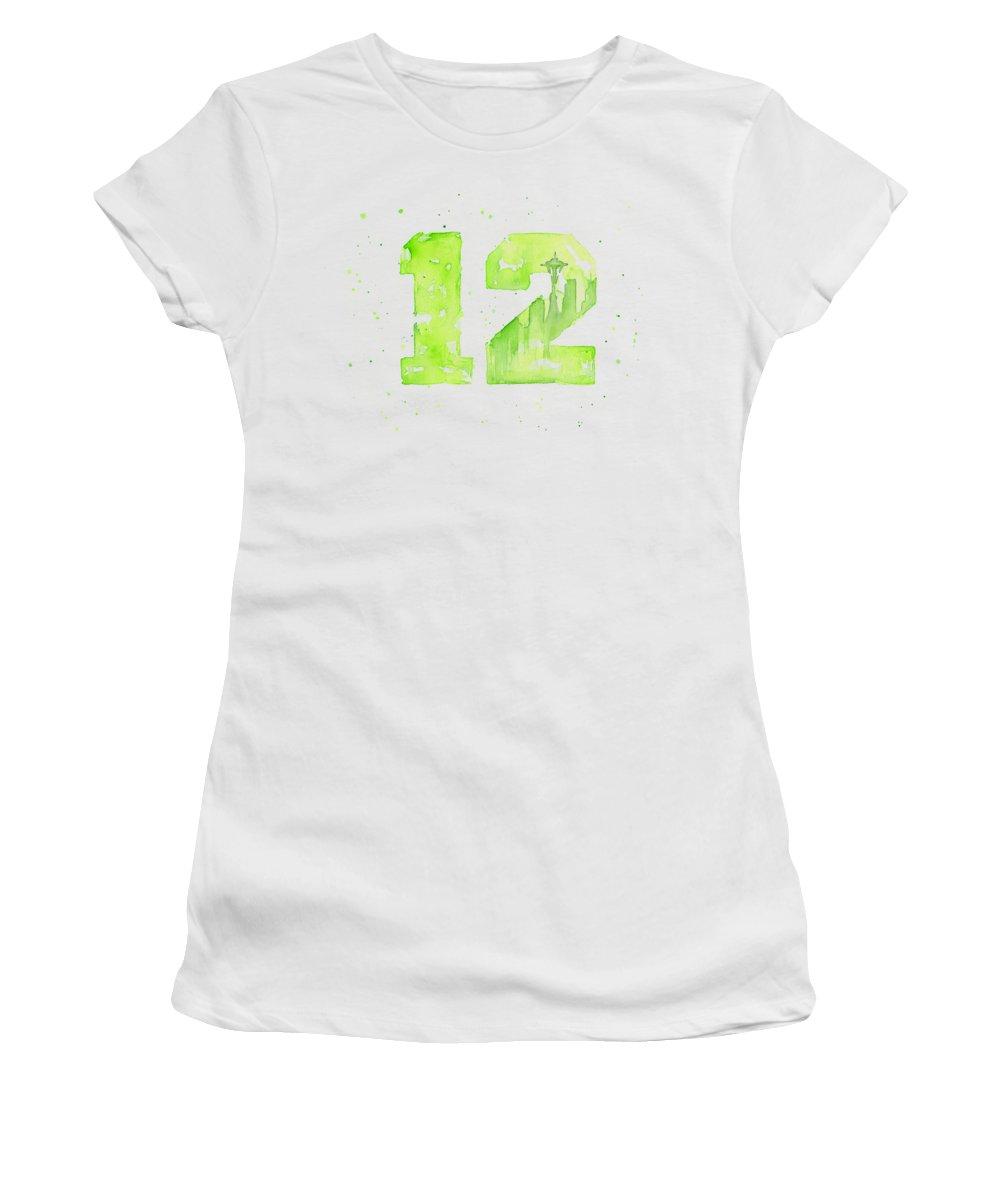 Seahawks Women's T-Shirt featuring the painting 12th Man Seahawks Art Go Hawks by Olga Shvartsur