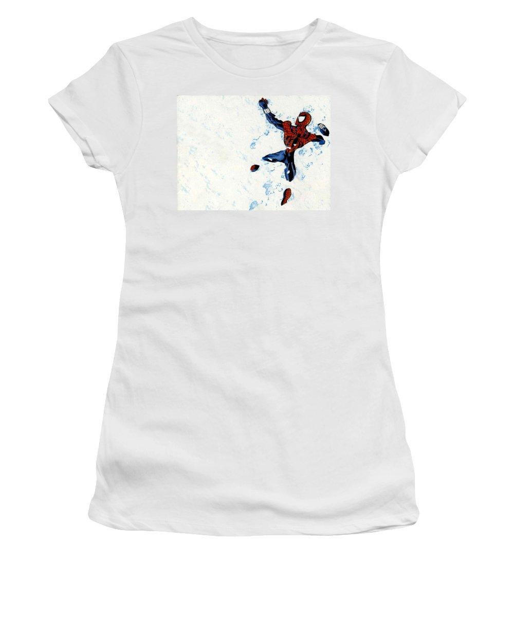 Spider-man Women's T-Shirt (Athletic Fit) featuring the digital art Spider-man by Mery Moon