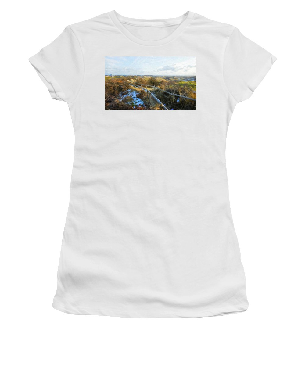 Landscape Women's T-Shirt (Athletic Fit) featuring the painting Nature Landscape Jobs by World Map
