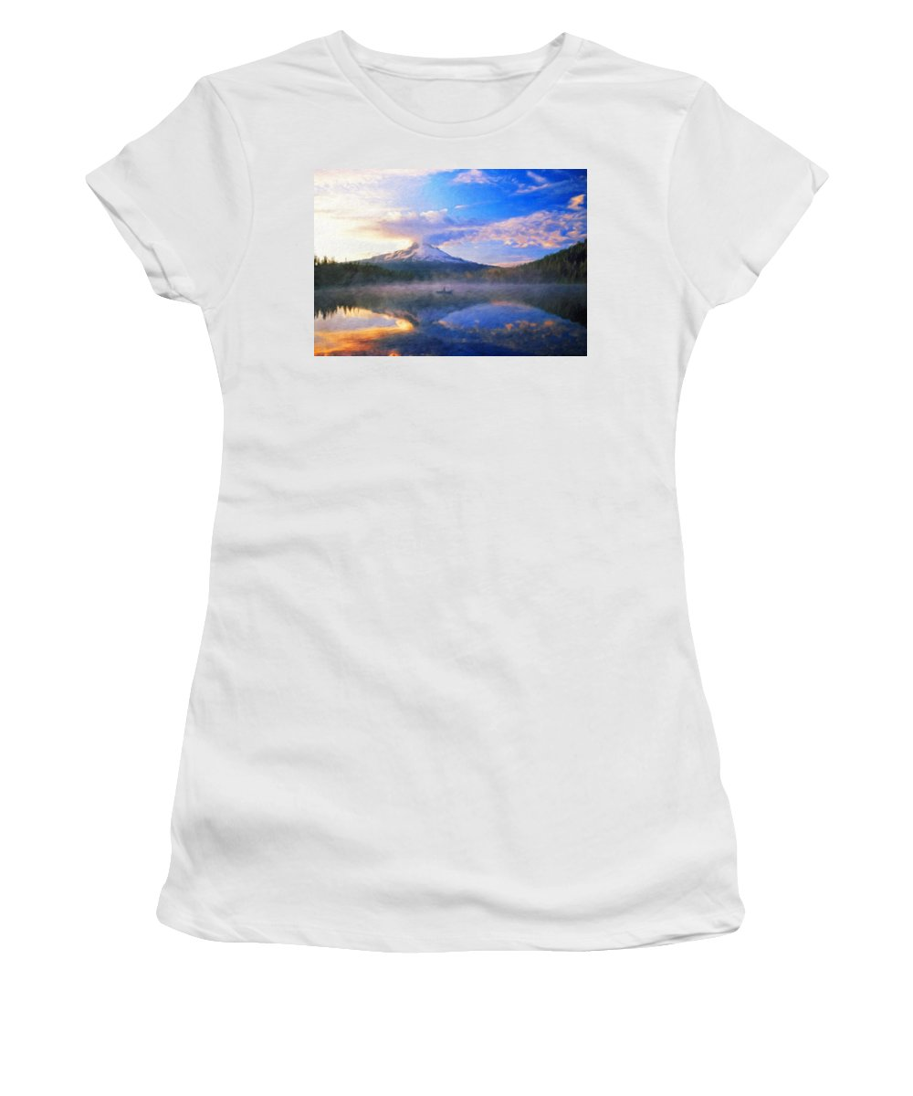 Landscape Women's T-Shirt (Athletic Fit) featuring the painting Oil Painting Landscape Pictures Nature by World Map