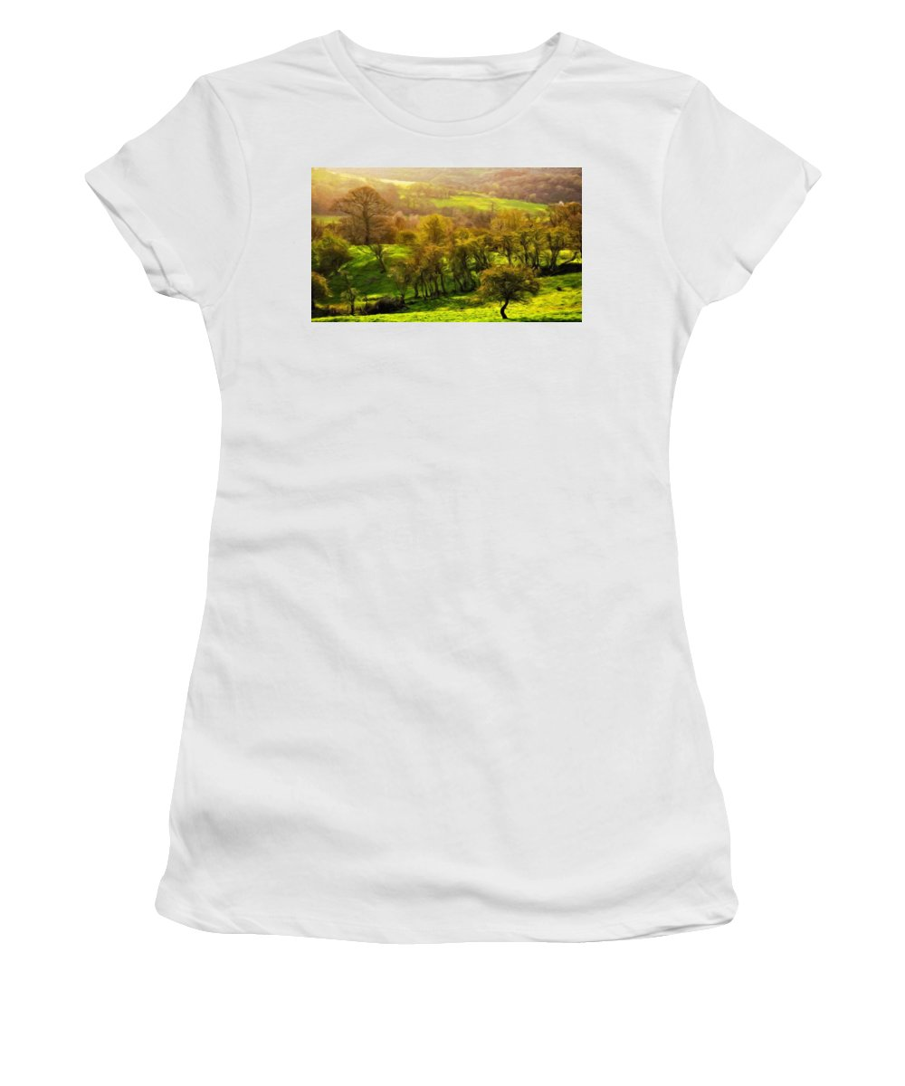 Landscape Women's T-Shirt (Athletic Fit) featuring the painting Nature Work Landscape by World Map