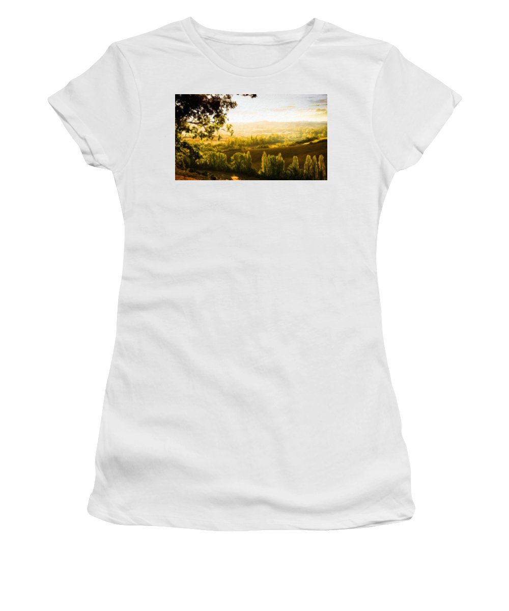 Landscape Women's T-Shirt (Athletic Fit) featuring the painting Nature Oil Canvas Landscape by World Map