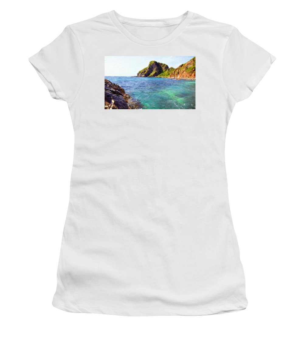 Landscape Women's T-Shirt (Athletic Fit) featuring the painting Landscape Pictures Nature by World Map