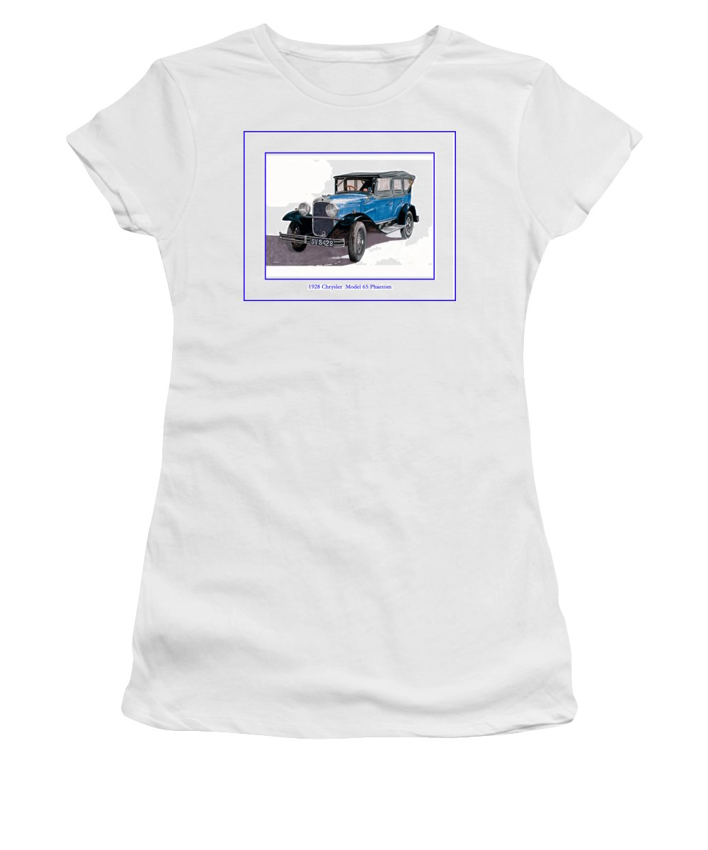 Images Of 1928 Chrysler Phaetons. Framed Art Of Old Chryslers. Images Of Old Chryslers. Vintage Chrysler Motorcars. Women's T-Shirt (Athletic Fit) featuring the painting 1928 Chrysler Model 65 by Jack Pumphrey