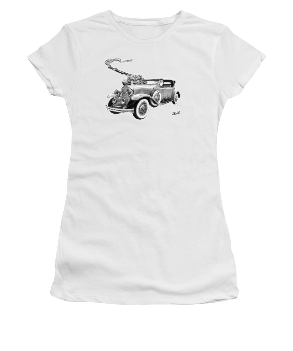 1929 Cadillac Women's T-Shirt (Athletic Fit) featuring the drawing 1929 Cadillac by Peter Piatt