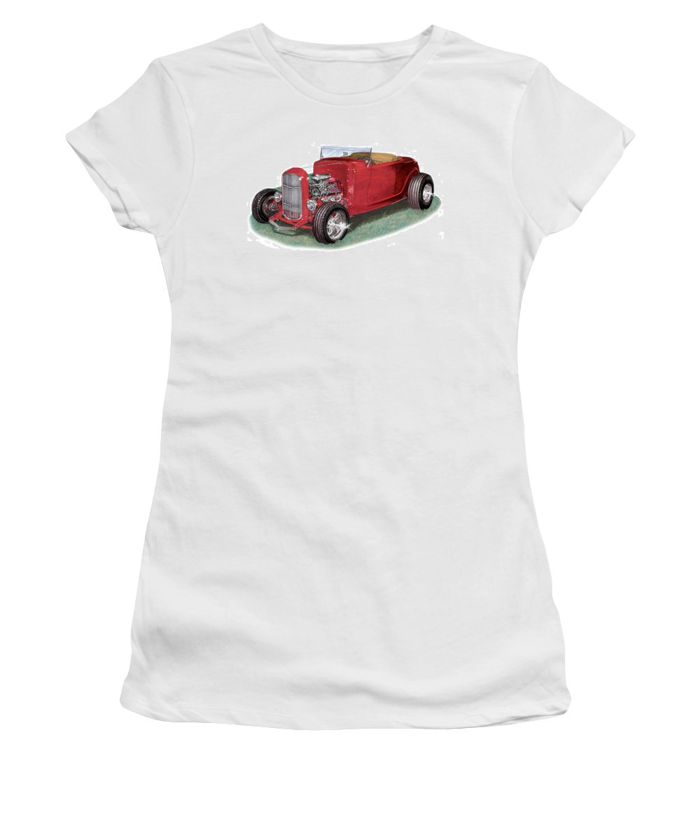 Images Of American Hot Rods. Images Of 1932 Ford High Boy Hot Rods. Framed Prints Of 1932 Ford High Boy Hot Rods. American Hot Rods Automotive Prints Women's T-Shirt (Athletic Fit) featuring the painting 1932 Ford Hi-boy Hot Rod by Jack Pumphrey