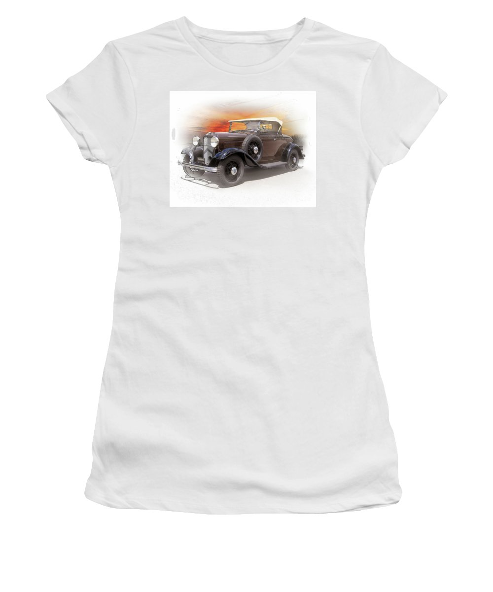 1932 Women's T-Shirt (Athletic Fit) featuring the photograph 1932 Ford Roadster by Ron Long