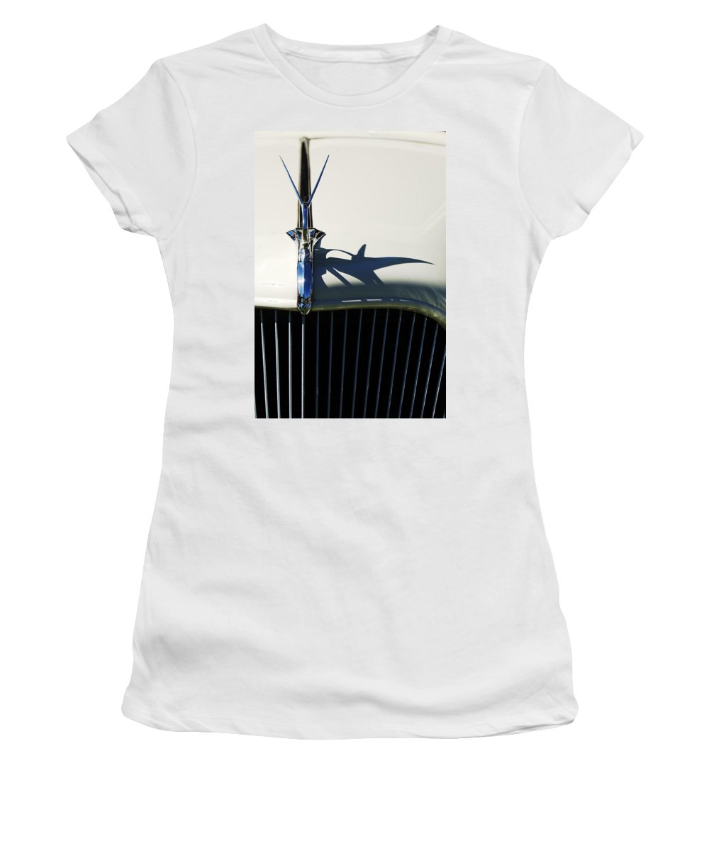 Car Women's T-Shirt (Athletic Fit) featuring the photograph 1934 Terraplane Coupe Hood Ornament by Jill Reger