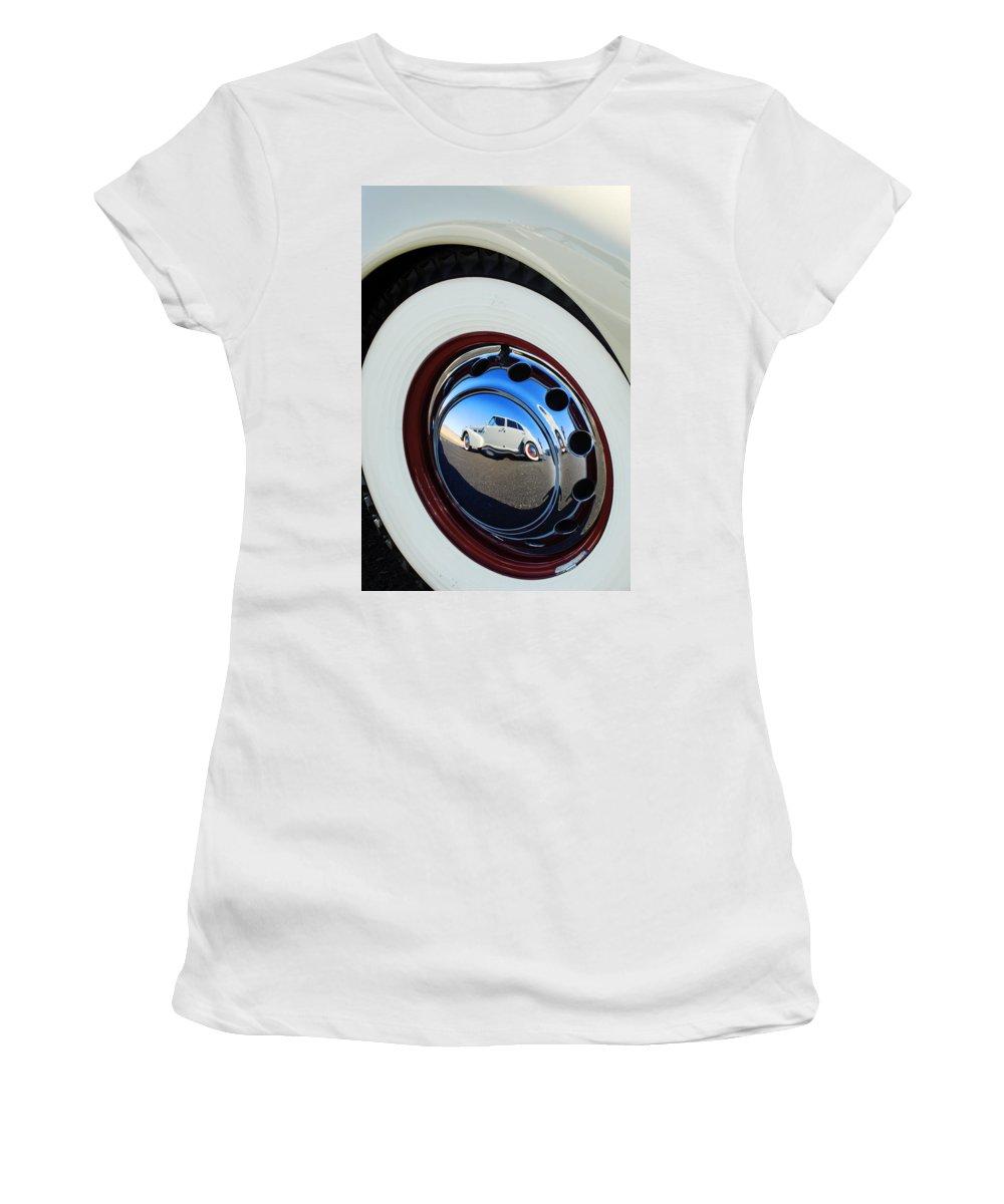 1940 Cadillac 60 Special Sedan Women's T-Shirt featuring the photograph 1936 Cord Phaeton Rim by Jill Reger