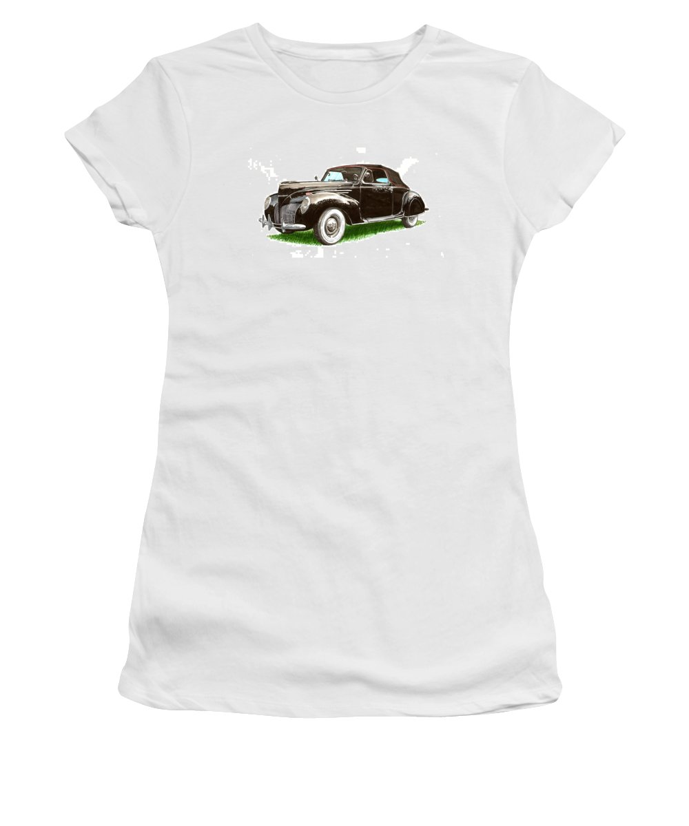 Black Convertibles Women's T-Shirt (Athletic Fit) featuring the painting 1937 Lincoln Zephyer by Jack Pumphrey