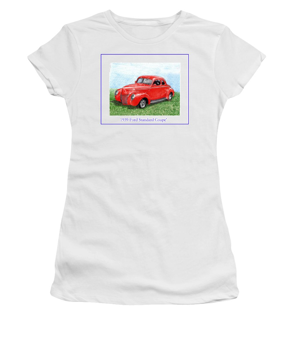 Automotive Prints Women's T-Shirt (Athletic Fit) featuring the drawing 1939 Ford Standard Coupe by Jack Pumphrey