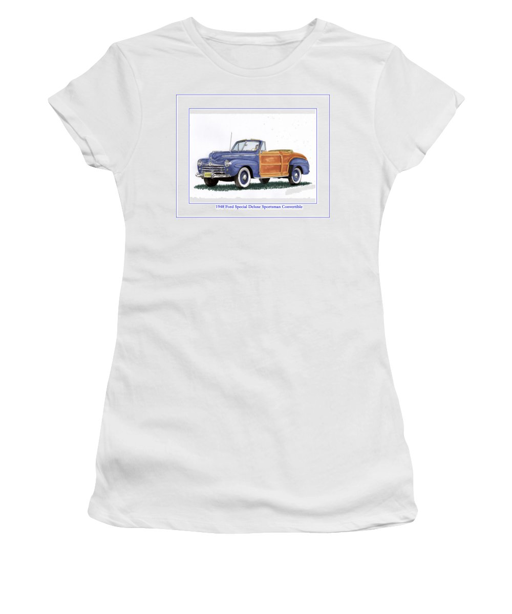Automotive Prints Women's T-Shirt (Athletic Fit) featuring the painting 1948 Ford Sportsman Convertible by Jack Pumphrey