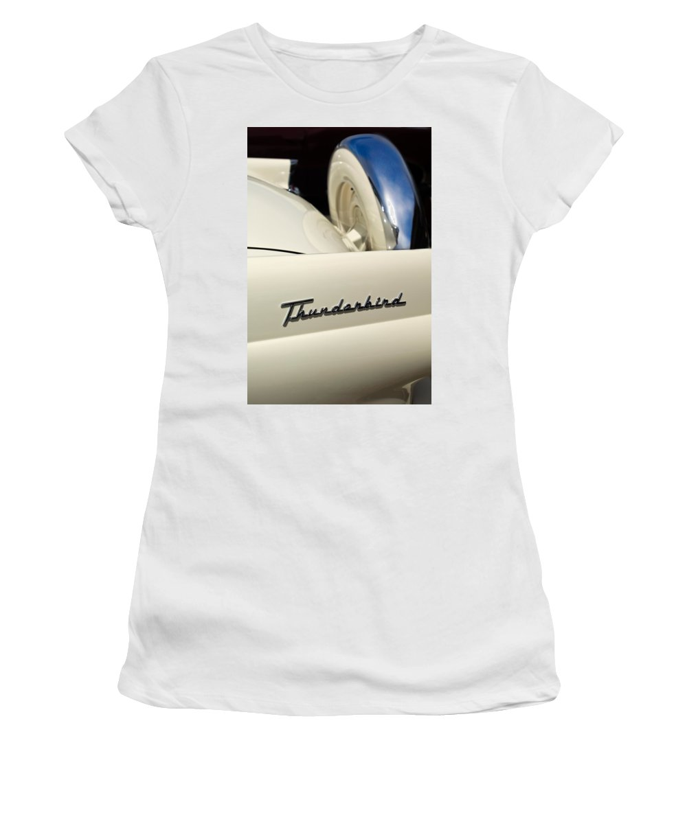 Car Women's T-Shirt (Athletic Fit) featuring the photograph 1956 Ford Thunderbird Spare Tire by Jill Reger