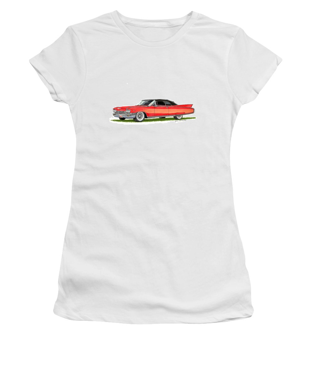 Framed Prints Of Cadillacs. Framed Canvas Prints Of Cadillac Fine Art. Famed Art Of Cadillac Hard Top Convertibles. Framed Art Of Great American Classic Cadillacs. Women's T-Shirt featuring the painting 1960 Cadillac El Dorado Biarritz by Jack Pumphrey