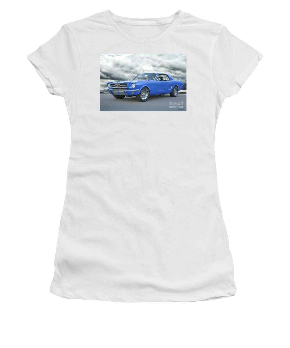Auto Women's T-Shirt featuring the photograph 1965 Ford Mustang 'blue Coupe' IIa by Dave Koontz