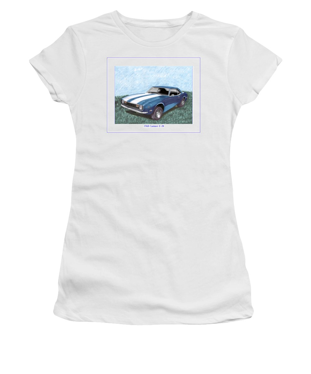 Framed Prints Of Great American Muscle Cars.framed Canvas Prints Of 1968 Chevrolet Camaro Z 28 Women's T-Shirt (Athletic Fit) featuring the painting 1968 Chevrolet Camaro Z 28 by Jack Pumphrey