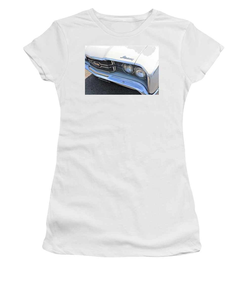 Auto Women's T-Shirt featuring the photograph 1969 Mercury Montego Mx Grille With Headlights And Logos by WHBPhotography Wallace Breedlove