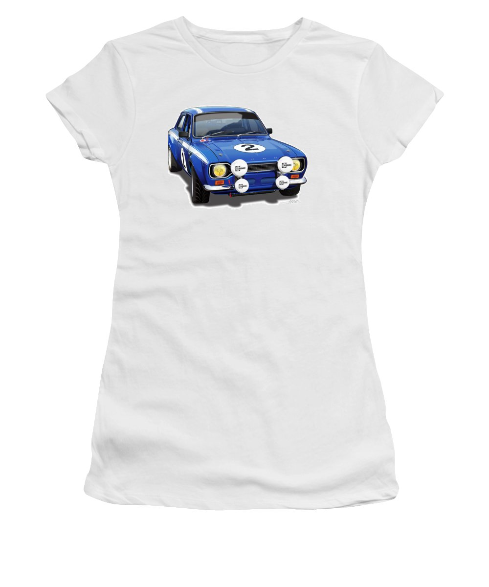 Ford Escort Mexico Illustration Women's T-Shirt featuring the digital art 1970 Ford Escort Mexico Illustration by Alain Jamar