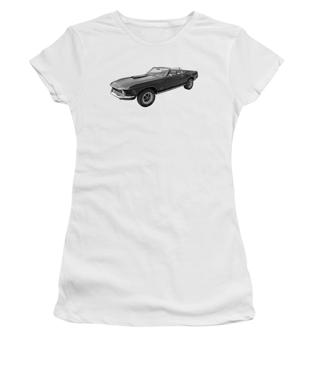Classic Ford Mustang Women's T-Shirt featuring the photograph 1970 Mach 1 Mustang 351 Cleveland In Black And White by Gill Billington