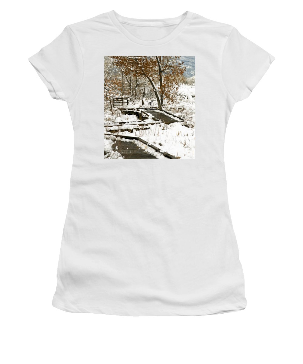 Boardwalk Women's T-Shirt (Athletic Fit) featuring the photograph A Winter's Day by Marilyn Hunt