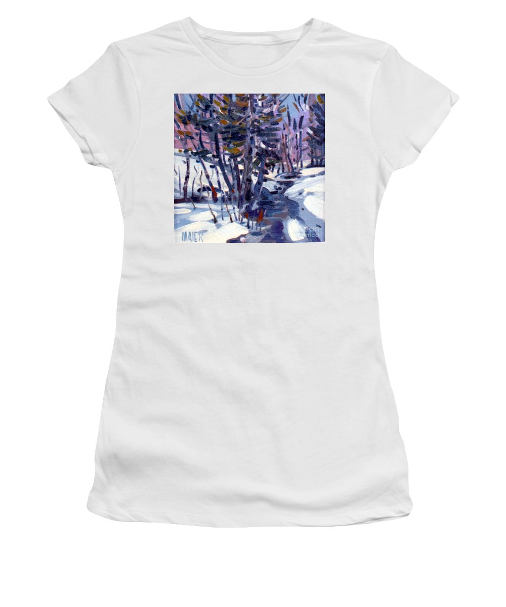 Plein Air Women's T-Shirt featuring the painting Aspen In The Snow by Donald Maier