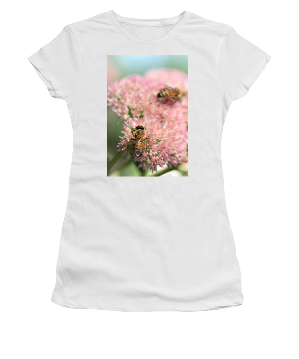 Bee Women's T-Shirt (Athletic Fit) featuring the photograph 2 Bees by Angela Rath