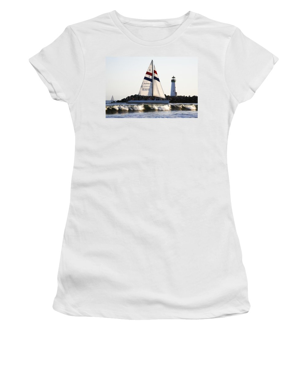 Santa Cruz Women's T-Shirt (Athletic Fit) featuring the photograph 2 Boats Approach by Marilyn Hunt