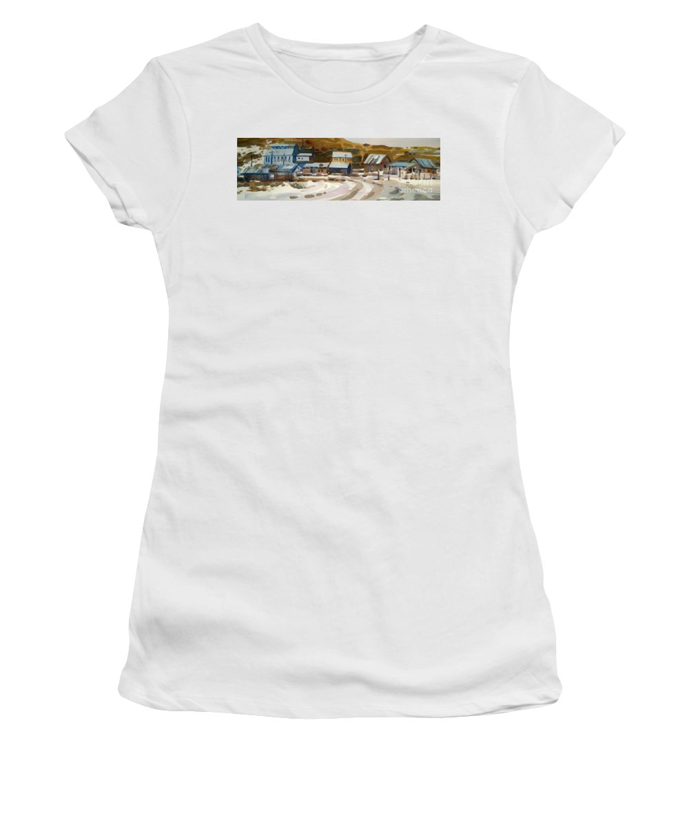 Ghost Town Women's T-Shirt (Athletic Fit) featuring the painting Bodie California 1979 by Donald Maier