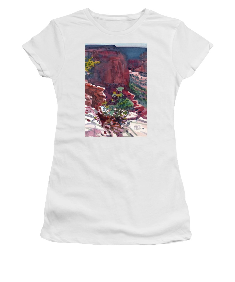 Canyon De Chelly Women's T-Shirt (Athletic Fit) featuring the painting Canyon View by Donald Maier