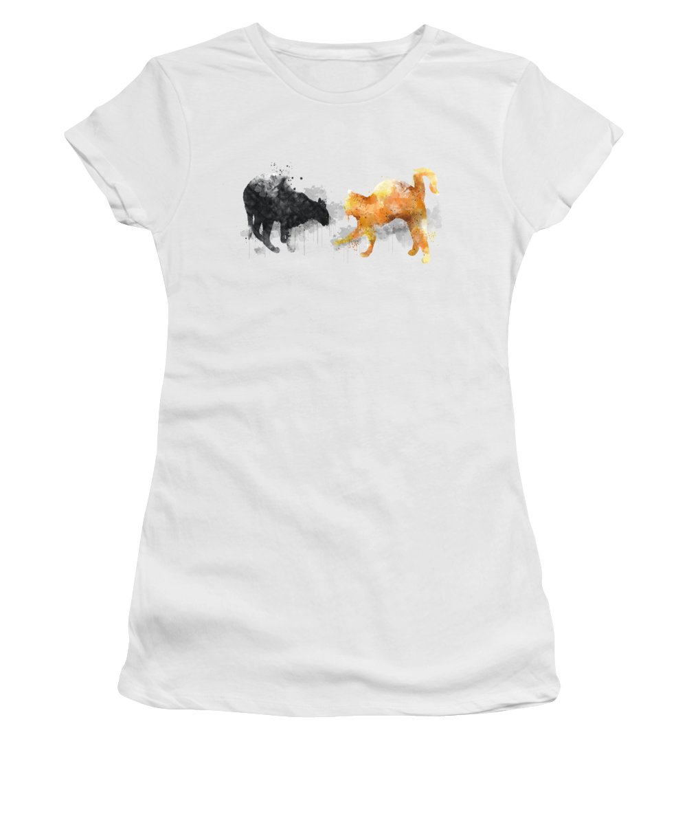 Cats Women's T-Shirt (Athletic Fit) featuring the digital art 2 Cats by Marlene Watson