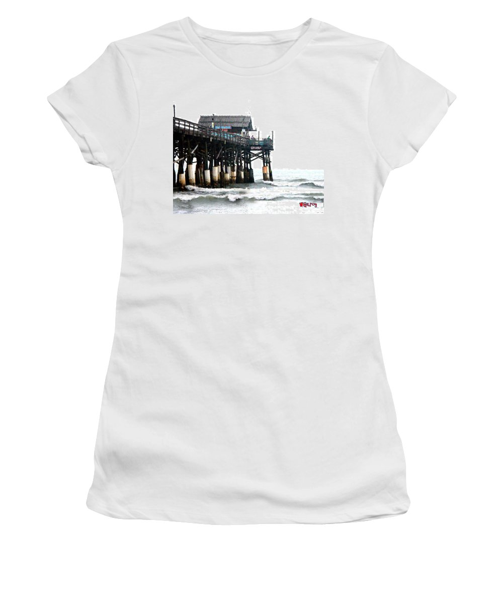 ~ Women's T-Shirt featuring the photograph Cocoa Beach Pier by W Gilroy
