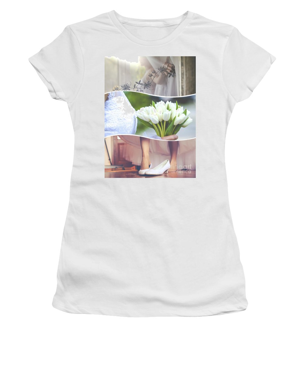 Wedding Women's T-Shirt (Athletic Fit) featuring the photograph Collage Of Wedding Time Sensational by Mariusz Prusaczyk