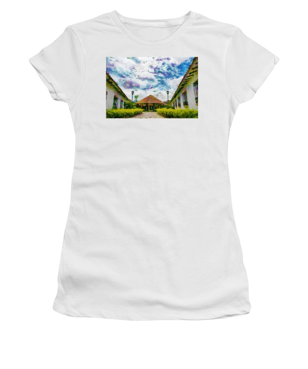 Colonial Women's T-Shirt (Athletic Fit) featuring the photograph Colonial House by Galeria Trompiz